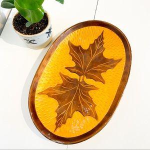 VINTAGE Wood Maple Leaf Boho Tray